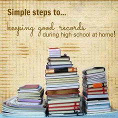 Since keeping records during high school is so important, I want to share with you some record-keeping tips (that you can tweak to your personal likes). I think you'll find that they'll help you get and stay organized!
