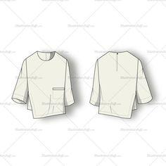 Asymmetrical Blouse Fashion Flat Template