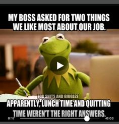 Ok how about morning tea toilet break and afternoon tea toilet break so I don't have to look at you. Work Jokes, Work Humor, Office Humour, Work Funnies, Funny Kermit Memes, Funny Jokes, Memes Humor, Funny Sarcasm, Medical Humor
