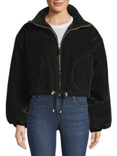Opening Ceremony Cropped Velvet Jacket In Black Hooded Jacket, Bomber Jacket, Velvet Jacket, Opening Ceremony, World Of Fashion, Clothes For Women, Drawstring Waist, Long Sleeve, Sleeves