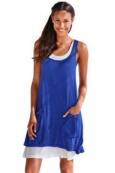 Jersey Dresses - Royal Blue Lace-Up Pockets Sleeveless Shirt Dress - Women's Clothing Online Store - Cheap Women's Clothing 2019 - 2020 Cheap Dresses, Short Dresses, Summer Dresses, Evening Dresses, Dress Shirts For Women, Clothes For Women, Royal Blue Dresses, Sleeveless Shirt, Blue Lace