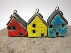 sweet little ceramic house charms