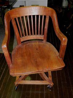 Antique GLOBE WERNICKE Walnut Wood fice Desk Swivel Chair Industrial Library