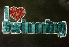 I love Swimming Rhinestone Transfer Iron On Hot Fix Motif Bling Applique - DIY >>> You can get more details by clicking on the image.