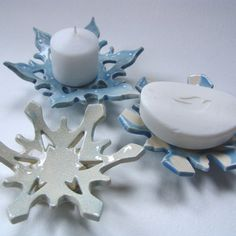 Icey snowflake pottery candle holder, soap dish, jewelry dish set