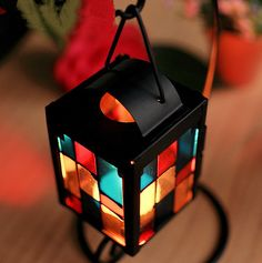 Pretty Color Glass Candle Holder