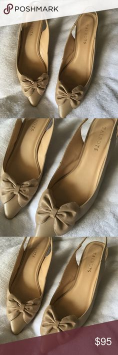 a09481dd69a Talbot s Nude Slingback Heels with classy bow Talbot s Nude Slingback Heels  with classy bow. Size