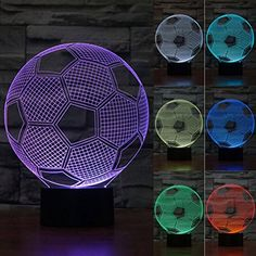 ZLTFashion 3D Visual Optical Illusion Colorful LED Table Lamp Touch Cool Design Night Light Christmas Prank Gifts Romantic Holiday Creative Gadget Football *** Want additional info? Click on the image.