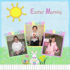 This was 3 of our grandchildren on Easter morning. I used many clipart embellishments to meet 2010 Load Day 7 challenge.    Credits:  Blue background is from Spring Breeze kit by Shabby Princess www.shabbyprincess.com  Easter Basket, Bunny, Flower, Egg L Nice picture! Thanks