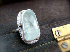 iceberg  aquamarine ring by sirenjewels on Etsy, $138.00