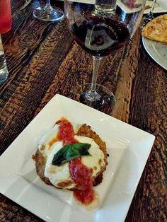 Eggplant Parmesan with fresh mozzarella and house made tomato sauce paired with Aia Vecchia 'Langone' Super Tuscan at Spuntino Wine Bar & Italian Tapas #SpuntinoWestbury #SpuntinoFavs