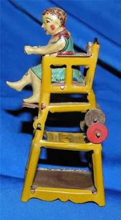 ANTIQUE VTG 1900s GERMAN TIN LITHO PENNY TOY, BABY- HIGH CHAIR/TABLE -DOLL HOUSE