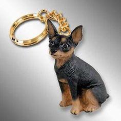 Miniature-Pinscher-Black-Tan-Min-Pin-Dog-Tiny-One-Resin-Keychain-Key-Chain-Ring