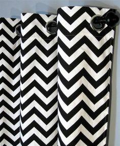 30 Gardinendekoration Beispiele – die Fenster kreativ verkleiden - vorhang und gardinendekoration chevron schwarz weiß