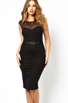 Curve Belted Midi Dress with Ruched Mesh