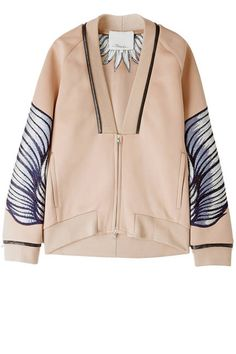 A great sports luxe jacket for relaxed office wear to smart casual looks. Embroidered Neoprene Jacket by Phillip Lim Looks Style, My Style, Inspiration Mode, Jackett, Fall Jackets, Mode Hijab, Mantel, Casual Outfits, Skirt Outfits
