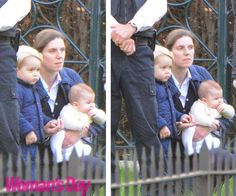 WORLD EXCLUSIVE PICTURES: Princess Charlotte's special day out with Prince George:Keeping watch over the third and fourth in line to the throne was a security team. But Charlotte and George are in safe hands with nanny Maria, who is trained in taekwondo!