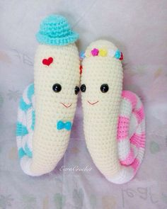 Crochet snail dolls couple set