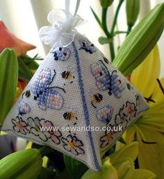 Buy Bees and Butterflies Scented Ornament Cross Stitch Kit online at sewandso.co.uk