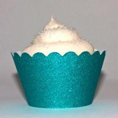 Platinum Glitter Aqua Blue Reusable Cupcake Wrappers (12 Wraps)