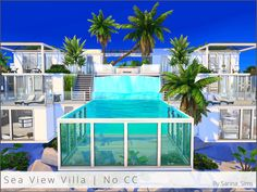 A large and modern villa for Sulani, above the water with a glass pool. Found in TSR Category 'Sims 4 Residential Lots' Sims 4 Modern House, Sims 4 House Design, Lotes The Sims 4, Sims Cc, Minecraft Water House, Island Villa, Casas The Sims 4, Sims Building, Glass Pool