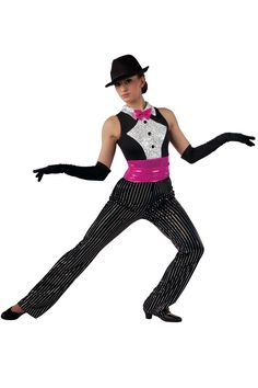 15325 Puttin' On The Ritz | Tap Jazz Funk Dance Costumes | Dansco 2015 | Sequined black velvet and black spandex unitard with cerise foil printed spandex cummerbund, silver sequin on white spandex overlay and felt lined collar. Bow on pin and jewel applique trim. Headpiece included.