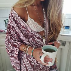 Sexy ethnic kimono with white lace bralette for a pretty boho chic look. For the BEST Bohemian fashion trend ideas FOLLOW https://www.pinterest.com/happygolicky/the-best-boho-chic-fashion-bohemian-jewelry-gypsy-/ now!