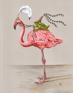 Frog Princess and Flamingo Art Print Whimsical Art Cute Art Print Kids Bedroom Art Frog Art Flamingo Art Girls Bedroom Art Kids Bedroom Ideas art Bedroom Cute flamingo Frog Girls Kids princess Print Whimsical Flamingo T Shirt, Flamingo Art, Pink Flamingos, Flamingo Photo, Flamingo Gifts, Art Fantaisiste, Art Mignon, Frog Princess, Princess Art