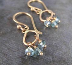 Mystic Green Topaz and Recycled 14k Gold Dangle Earrings by Christine Mighion Jewelry