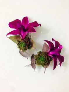 A simple but stunning orchid variation on wedding buttonhole.