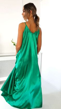 dress Coctel vestidos - Tiffany Satin Maxi Slip Dress in Green Vestidos Tiffany, Tiffany Dresses, Satin Nightie, Satin Sleepwear, Silk Nightgown, Godmother Dress, Casual Dresses, Fashion Dresses, Silky Dress