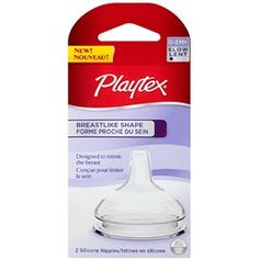 PlaytexBreastLike Shape Nipple- Slow Flow are BPA free silicone nipples designed with a slope area around the nipple to mimic the slope of a breast.