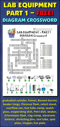 Help students learn and remember the lab equipment commonly used in a science classroom using this diagram crossword. BONUS ACTIVITY: When they've completed the crossword, get them to cut out the diagram, glue it on a separate page and label the equipment. This activity would work well within an interactive notebook as well. It can function as an assessment of learning, or it can serve as another reinforcement activity. Afterwards, they have a handy labeled diagram to help them review.