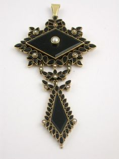 Antique Victorian 14k Gold, Onyx & Seed Pearl Pendant, Mourning Jewelry