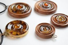 Wooden pendant necklace Baltic amber fashion jewelry round