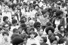 The crowd at a free festival of African, Asian and Caribbean music and art in Kennington Park, 27th August 1973. The event, organised by Lam...
