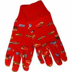 Midwest CRC2102K Disney Cars Kids Lightening McQueen Jersey Glove by Midwest. $4.29. Available in kids size. Comes with a knit cuff. Keep their little hands clean while they are revving up for a day in the yard or garden. Disney cars kid's lightening mcqueen jersey gloves. Disney cars kid's lightening mcqueen jersey gloves comes with a knit cuff. Keep their little hands clean while they are revving up for a day in the yard or garden. Available in kids size.