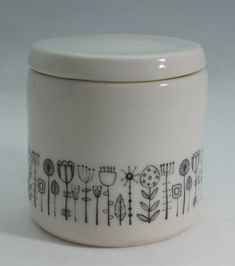 This little porcelain lidded pot has been made on a potter's wheel and then dried and turned (trimmed) on the wheel. It's been bisque fired glazed using a clear glaze and then high fired (about Then it's had ceramic water-slide transf. Sculpture Ideas, Water Slides, Handmade Pottery, Baking Ingredients, Safe Food, Glaze, Porcelain, Display, Dishes