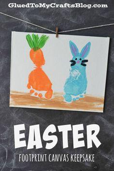 40+ Simple Easter Crafts for Kids - Easter Footprint Canvas Keepsake