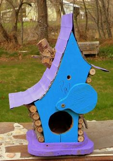 bird house, Birdhouse, Whimiscal birdhouse in color options with dragon fly and wire fret work, garden art, in color options Homemade Bird Houses, Rain Design, Bird House Kits, Bird Aviary, Kit Homes, Garden Art, Garden Ideas, Color Trends, Decorating Your Home