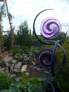 Purple Glass Garden Sculpture Malvern Spring garden show 14 May 2011