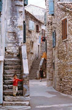 Colours of Istria    A narrow street in Umag , Croatia