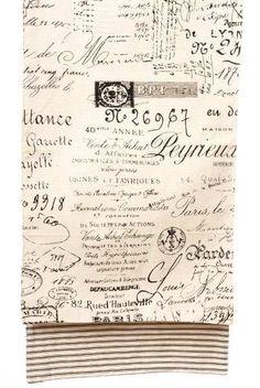 canvas French merchant label, ticking back, black/cream