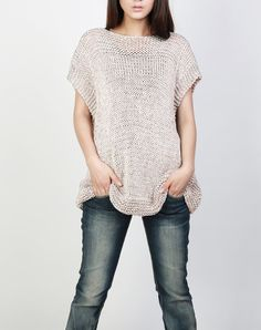 Hand knit Tunic sweater eco cotton woman sweater vest by MaxMelody Tunic Sweater, Grey Sweater, Sweater Vests, Fall Vest, Pull Gris, Knitted Gloves, Pulls, Nice Tops, Hand Knitting