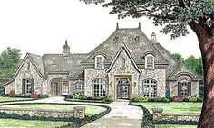 French Country Style House Plans - 4182 Square Foot Home , 2 Story, 4 Bedroom and 3 Bath, 3 Garage Stalls by Monster House Plans - Plan 8-588