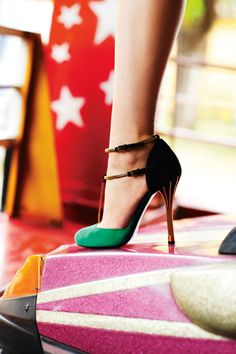 """Gucci's """"Ophelie"""" two-tone d'orsay peep-toe pumps."""
