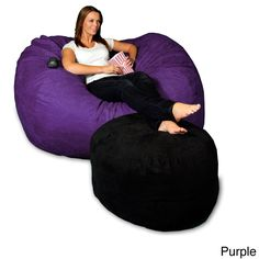 5-foot Memory Foam Micro Suede Beanbag Chair Lounger (Purple Micro Suede), Size Large