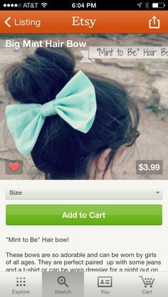 Etsy hair bow! In mint!