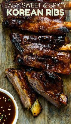 Sweet, Spicy, Tangy Korean Ribs If you love Korean BBQ, this Korean pork spareribs recipe is an easy Korean Ribs, Asian Ribs, Korean Bbq Sauce, Sauce Barbecue, Korean Beef, Bbq Sauces, Korean Food, Pork Rib Recipes, Grilling Recipes
