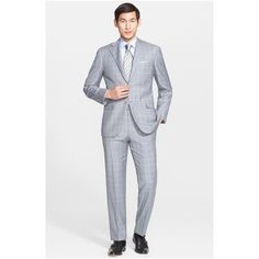 Canali Men's Classic Fit Windowpane Wool Suit